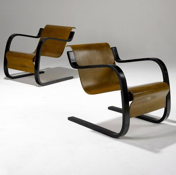 Alvar Aalto; #31/42 Laminated Birch Lounge Chairs for Finmar, c1932.