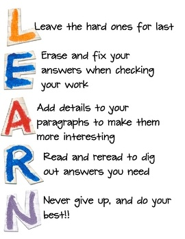 """LEARN"" acrostic poems- students highlight important test-taking tips Each student also makes an alphabet bracelet wi..."