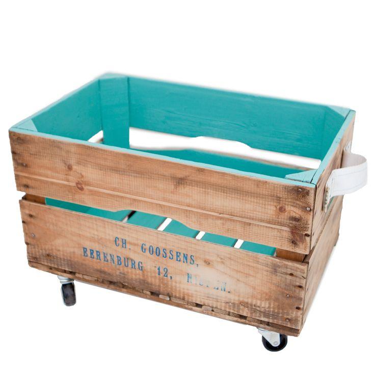Rollende opbergbox van I Am Recycled. Ook in andere kleuren €39,95