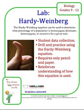 This equation can be used to predict the percentage of a population having a certain genetic trait. In this lab, three genetic traits will be observed in a population. Students will conduct a random sample, and determine the frequency of the alleles in the population using the Hardy Weinberg equation. No materials are required other than pencil, paper, and calculator.