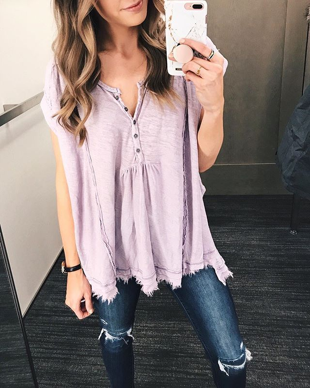 Cutest little boho henley top. I ended up getting in white but love this pretty lilac color for spring! Runs large size down! | Shop my posts at thestyledpress.com/shop or with the @liketoknow.it app! http://liketk.it/2ujT5 #liketkit