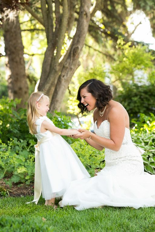 Bride and her flower girl