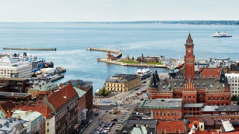 Helsingborg (with the danish coast in the background)