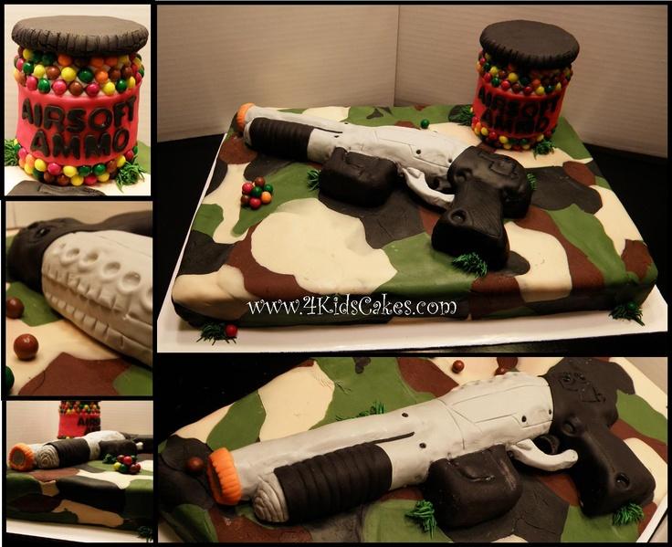 Cake Decorating Classes Tyler Tx : Airsoft Gun & Camoflauge cake @Pamela Moon come help me do ...