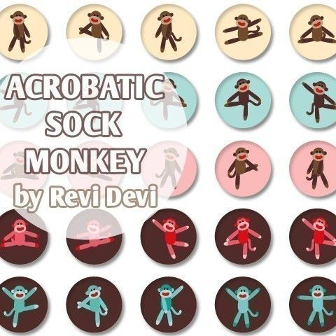 Acrobatic Sock Monkey 16226  Printable Circle 1.313 by BlessedShop