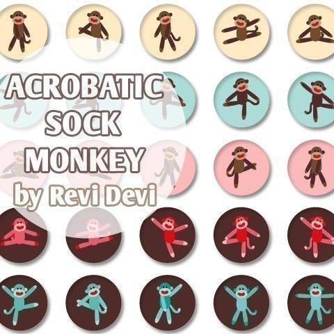 Acrobatic Sock Monkey 16226  Printable Circle 1.313 by BlessedShop