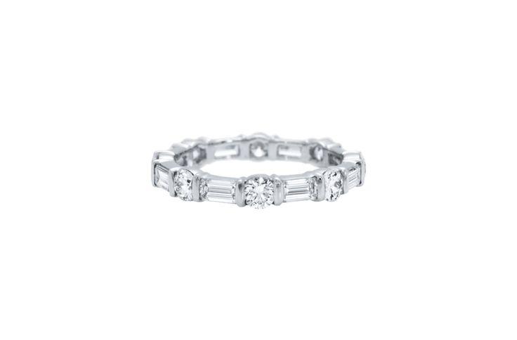 Alliance diamants taille brillant et taille baguette serti bride