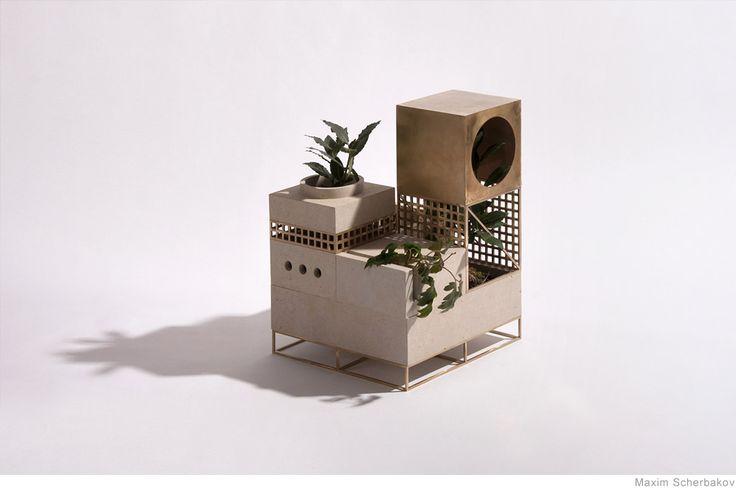 Industrial Horticulture Inspired by post-Soviet architecture, St. Petersburg-based designer Maxim Scherbakov has createda series of modular planters designed t