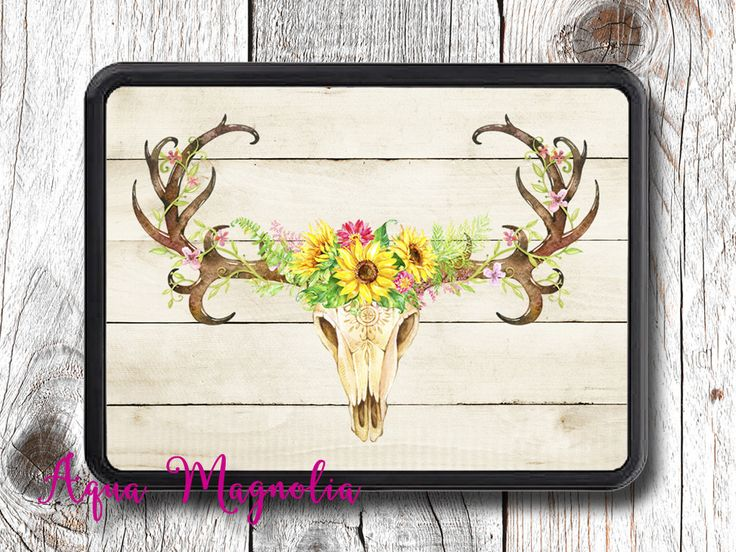 Sunflowers Deer Antlers, Rustic, Boho - Trailer Hitch Cover - Car Accessory - Trailer Hitch by AquaMagnolia on Etsy