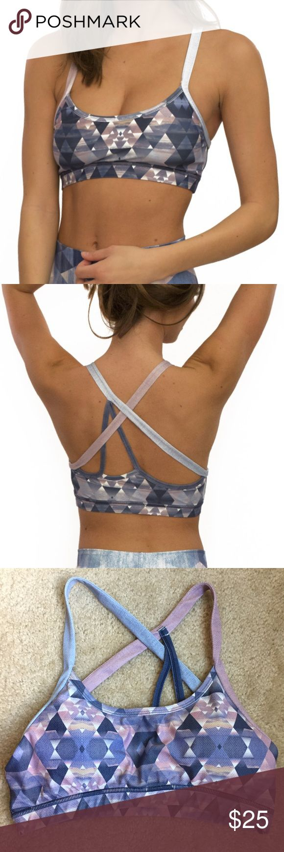 Niyama Sol Diamond Denim Sports Bra Worn and washed only twice - in excellent condition! Incredibly cute strappy back detail. Sports bra includes removable pads. Niyama Sol Tops Crop Tops