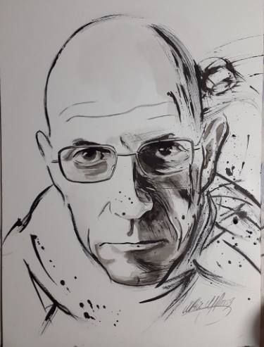 "Saatchi Art Artist Ulku Yilmaz; Drawing, ""MICHEL FOUCAULT"" #art"