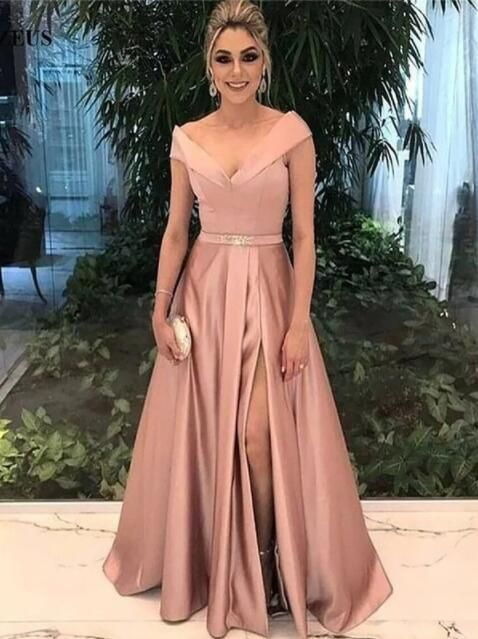 9f9d0c3d47e7 Rose Gold A-Line Long Prom Dress Off Shoulder V-Neck Evening Dresses Sweep Train  High Slit Party Gowns in 2019 | bridesmaid | Prom dresses, Dresses, ...