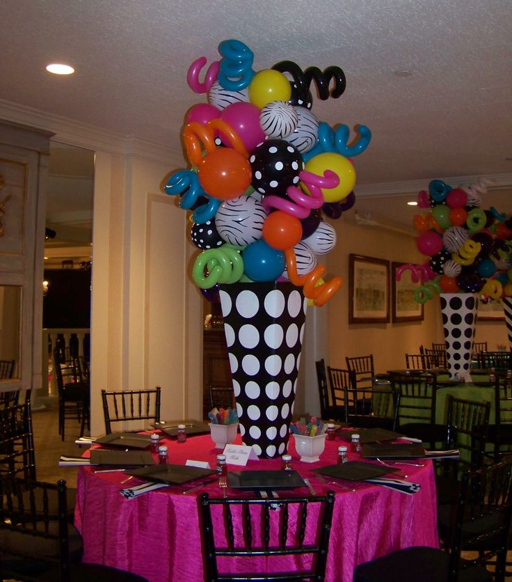 Zebra u0026 dots funky balloon centerpieces 18