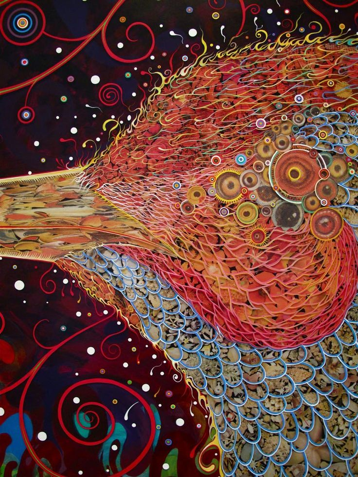 detail, Fred Tomaselli, Penetrators (Large) , 2013, photocollage, acrylic, and ...