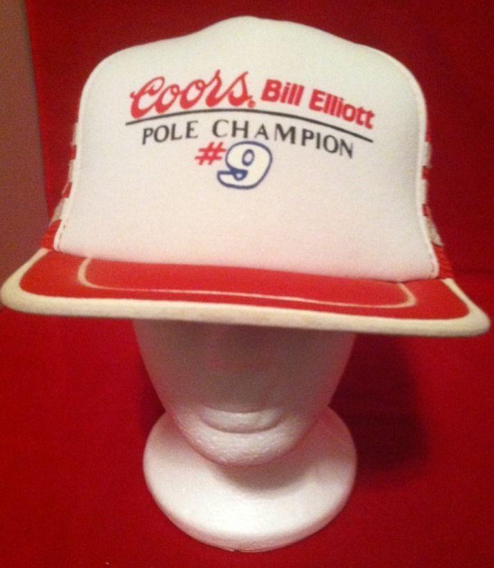 Bill Elliott Nascar Hat Coors Racing Cap Snapback Pole Champion Trucker Cap #SanSun #Snapback