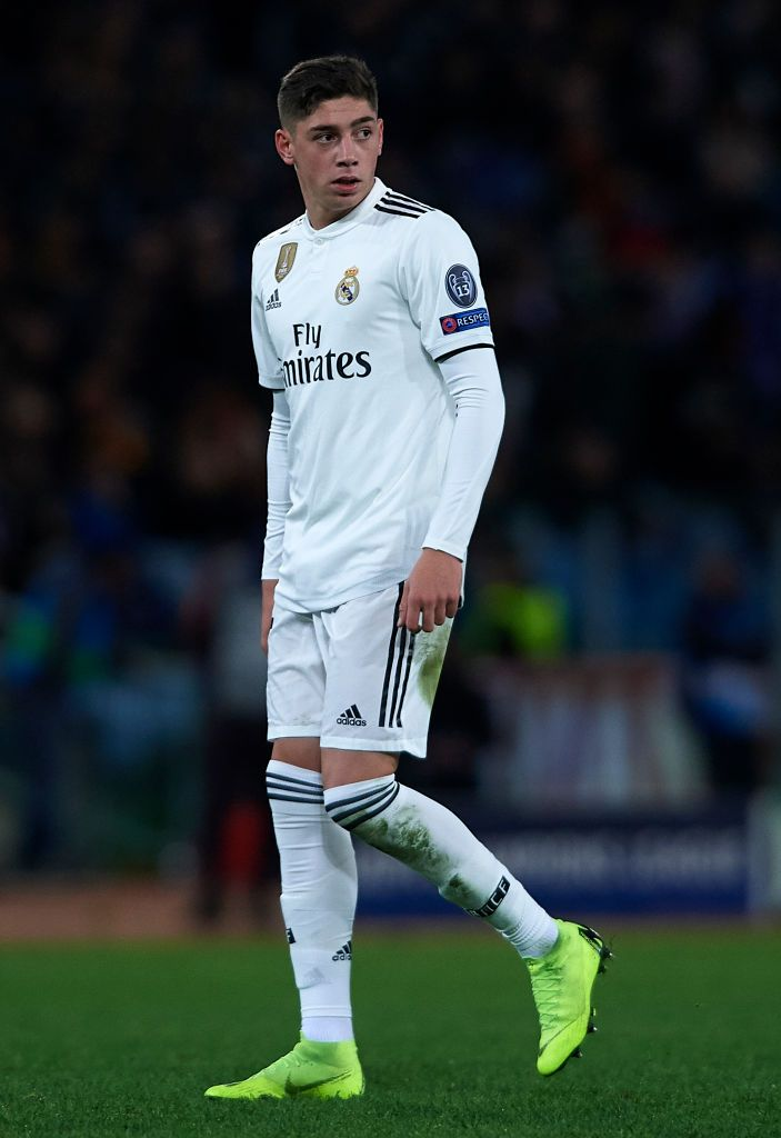 Federico Valverde Of Real Madrid Looks On During The Group G Match Of Real Madrid Football Real Madrid Wallpapers Real Madrid