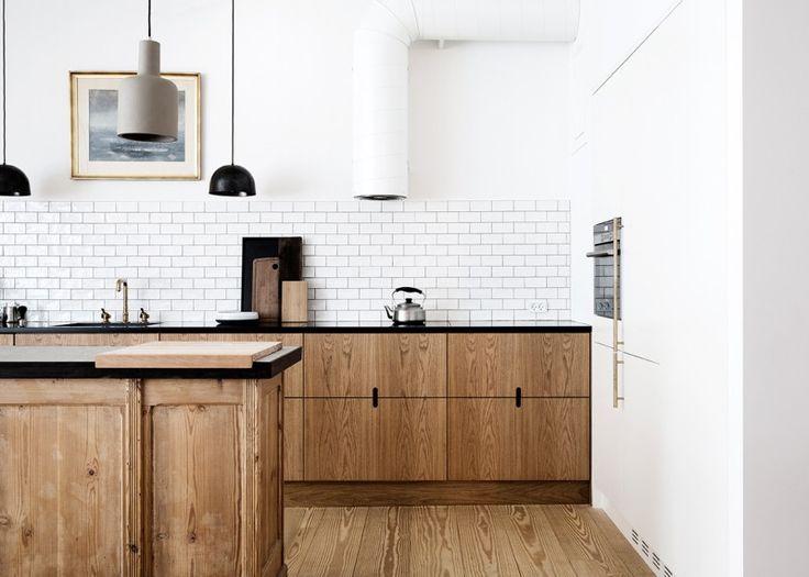 Danish wood-cabinets-kitchen-subway-tile-notched-pulls KBH Københavns Møbelsnedkeri