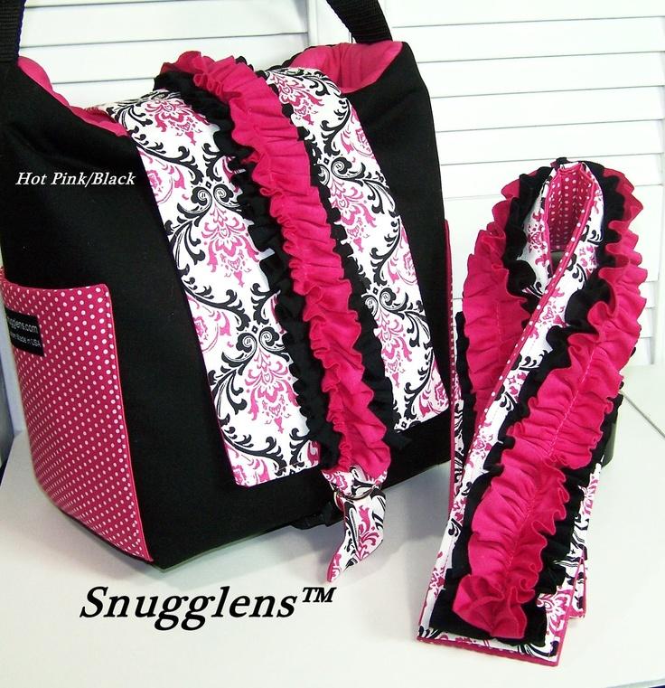 DSLR camera bag Hobo padded womens camera case Med size Candy Damask pink -black w/ ruffles pink interior Camera Strap Cover SNUGGLENS. $125.99, via Etsy.