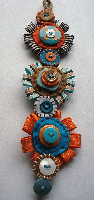 button, bows and felt bracelet