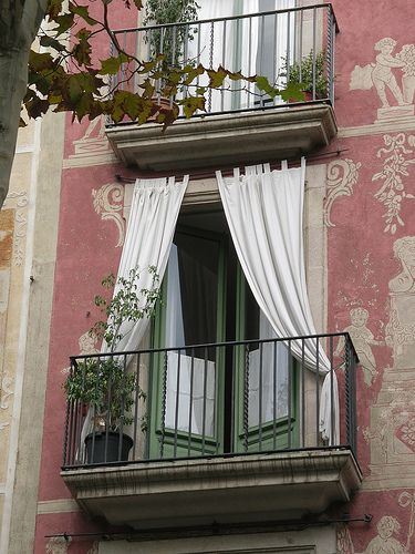Sweet balcony and french doorsApartments Balconies, Pink House, Sweets Balconies, French Doors, Romantic Balconies, Windows, Places, Outdoor Curtains, Barcelona Spain