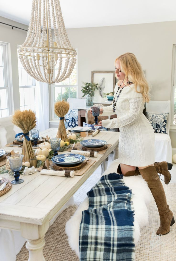 Casual Blue and White Thanksgiving Table - Home Stories A to Z