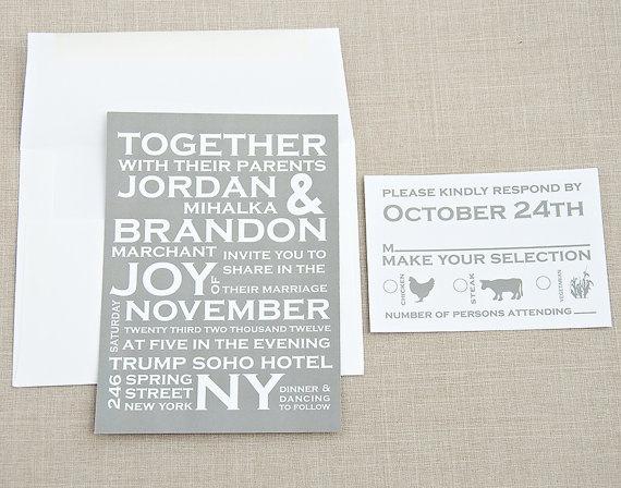 Bold Typography Wedding Invitation