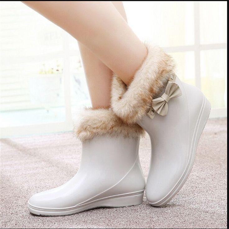 Женская весна и осень новый с бантом склон с резиновые сапоги / бесплатная доставка дамы рабочие ботинки и резиновые дождь обувь