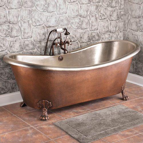"copper bathtubs | 72"" Isabella Copper Double-Slipper Clawfoot Tub - Nickel Interior | Hammered Copper, Bathtubs ..."
