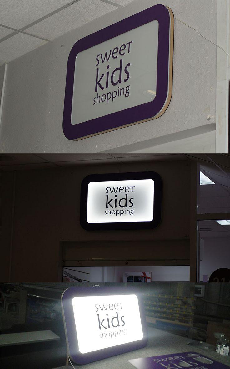 Тонкий световой короб с объемной апликацией, для отдела детской одежды Sweet Kids