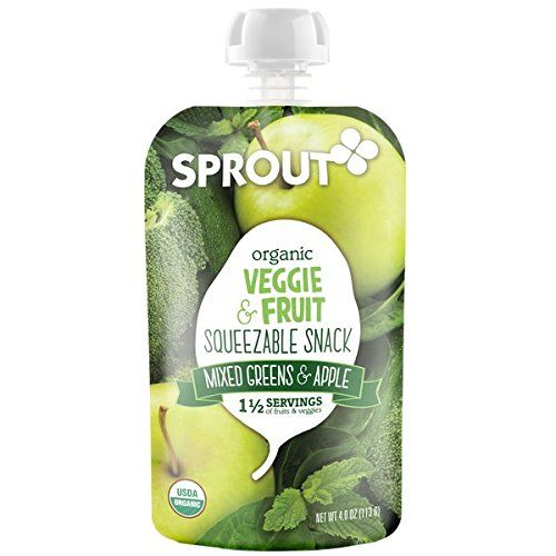Sprout Organic Squeezable Snack Pouches Mixed Greens  Apple 4 Ounce Pack of 5 *** Check out this great product.