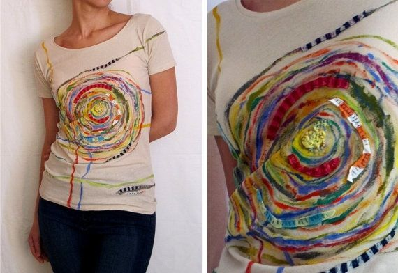 one-of-a-kind artwork using fabric scraps, paint and stitching on organic t-shirts