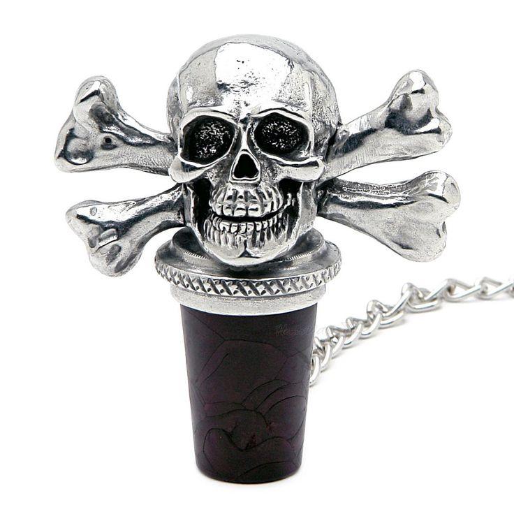 Skull and Crossbones Pewter Wine Stopper
