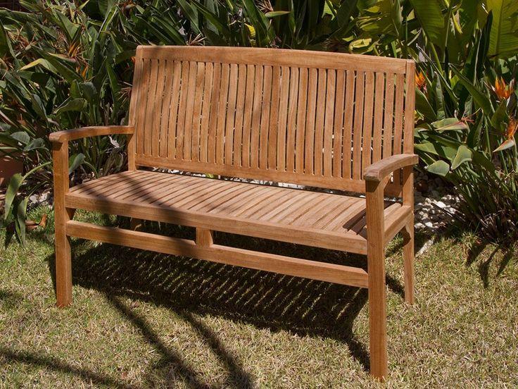Banco Bali de madera de teca para jardín o terraza