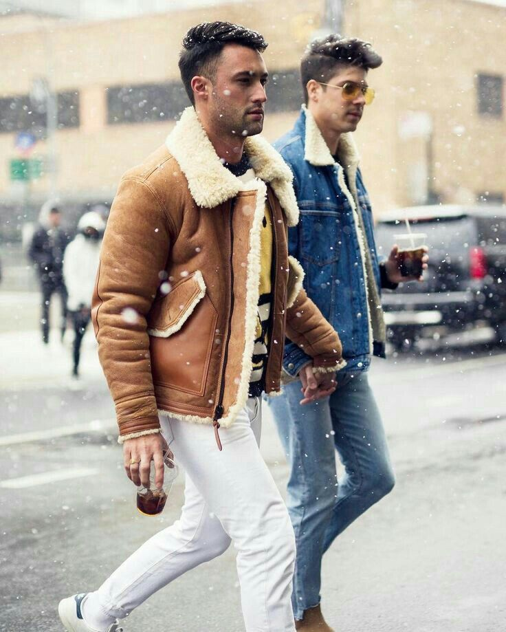 Brock Williams & Chris Lin Men in sheepskin jacket