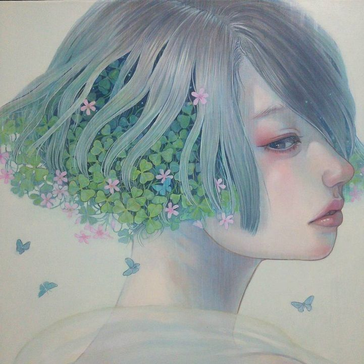 Miho Hirano 平野実穂, watercolor {fantasy art beautiful female head profile woman face portrait painting} mihohirano.strikingly.com