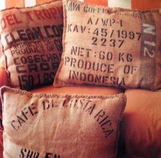 Simple Throw Pillows from Coffee Bean Sacks