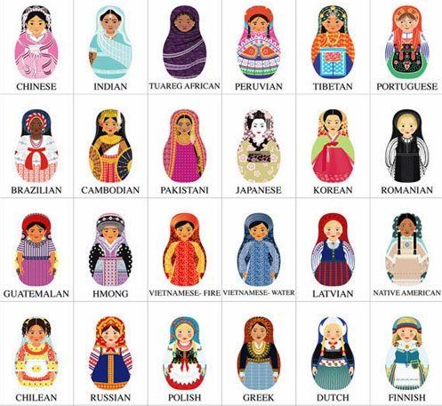 Multicultural Matryoshka Dolls