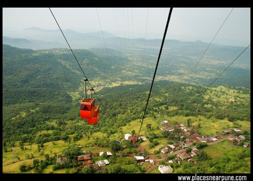 The cable car to go to the top of Raigad Fort