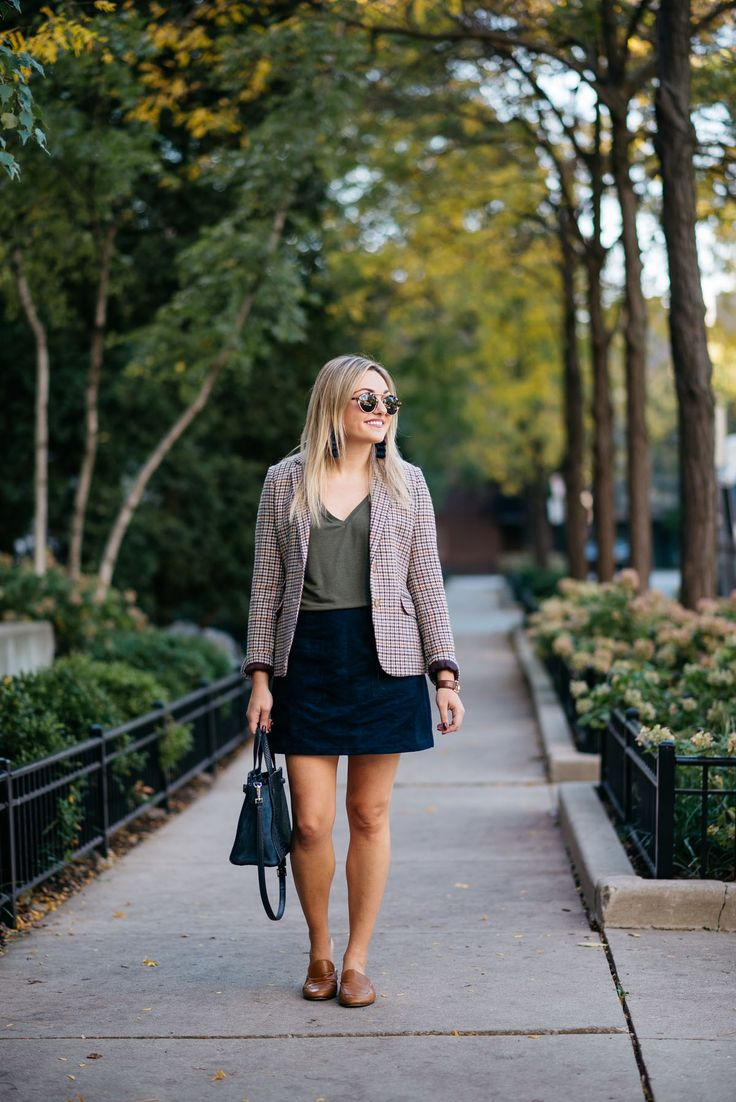 Lifestyle blogger Bows & Sequins styling work wear: Illesteva sunglasses, Joules houndstooth blazer, Express olive green v-neck tee, Old Navy blue suede skirt, and Dune London leather loafers with a Kate Spade bag.