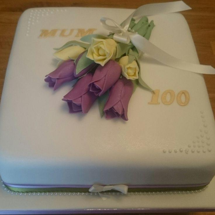 100th Birthday Cake With Purple And Yellow Tulips Cake