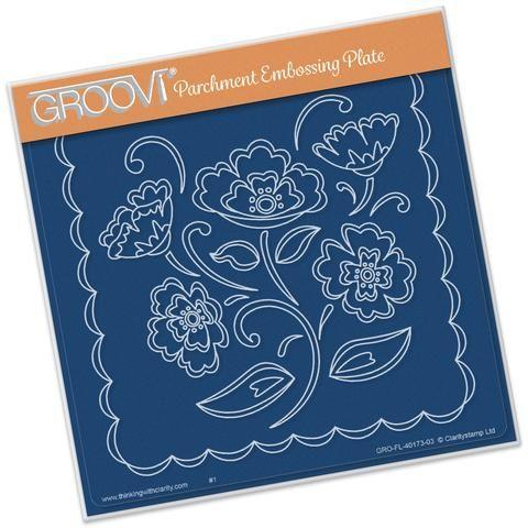 Lace Flowers <br/> A5 Square Groovi Plate <br/> (Set GRO-FL-40205-03)
