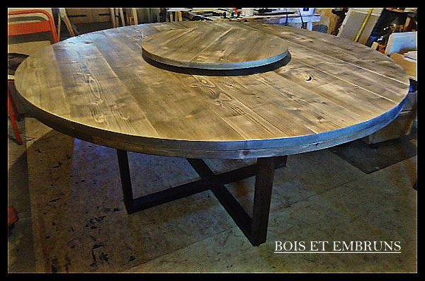 Table Ronde Bois Brut Table Ronde Plateau Tournant Table