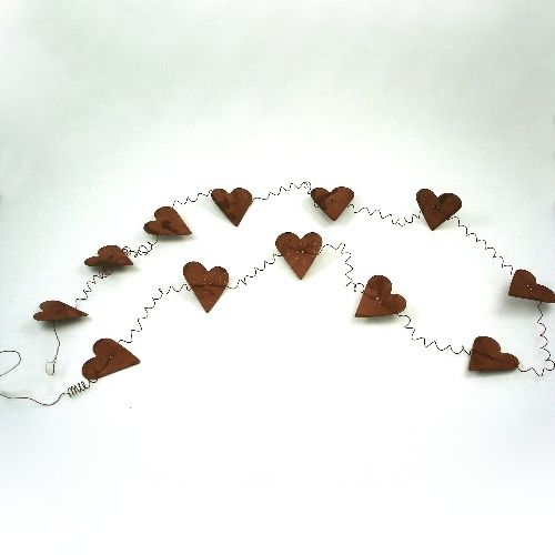 Outer Banks Country Store Rusty 2 Inch Heart Tin Garland Primitive Home Decor