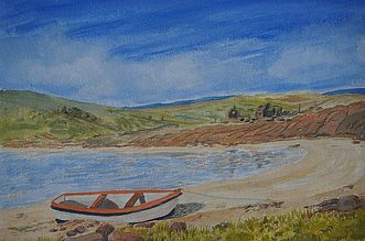 painting of shore boat beach old buildings