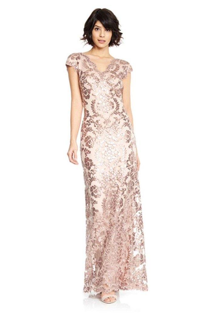 Rose Gold Sequins Mother Of The Bride Dresses Long Short Black Hair In 2020 Mother Of The Bride Gown Mother Of The Bride Dresses Bride Dress