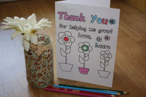 Personalized Coloring Teacher Thank You Card by VeryFairyGood