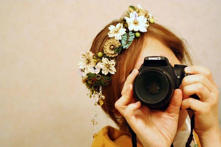 Japanese hair accessory for kimono by Himeko つまみ細工「木花咲耶姫(Konohanasakuya Hime)」…