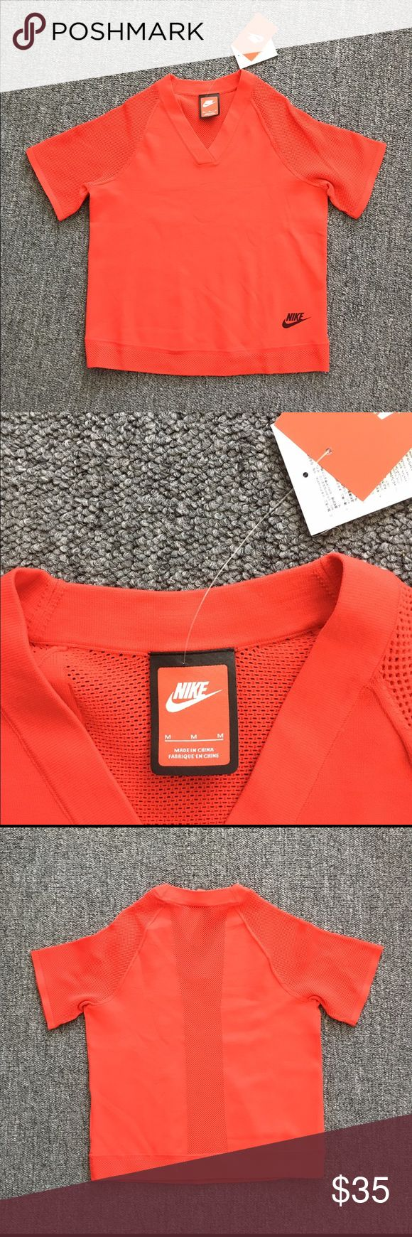 RED Nike tech knit top Style No. 728679-439; brand new with tags; Nike Tech Knit is a unique blend of nylon and cotton that provides warm, sweater-like comfort with a soft, luxurious feel. The semi-sheer sleeves and back panel are made of micro-mesh for increased airflow where you need it the most. Nike Tops Tees - Short Sleeve