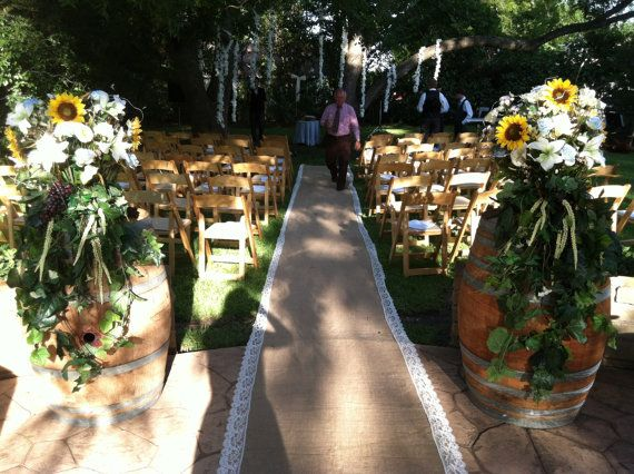 30 Ft Rustic Burlap and Lace Aisle Runner  good but ships from US ...