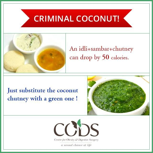 Steaming hot idlis also carry hidden calories. The CODS nutrition team wants you to remember to substitute your coconut chutney with green chutney to cut down on your calorie intake.   #Nutrition #IndianFood #Calories